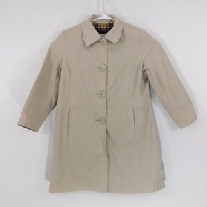 Liz Claiborne Tan Cream Long Coat Pockets Petite